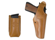 New Saddle Tan Leather OWB Side Gun Holster + Single Magazine Pouch for Full Size 9mm 40 45 Pistols (#C15ST)