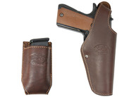 New Brown Leather OWB Side Gun Holster + Single Magazine Pouch for Full Size 9mm 40 45 Pistols (#C15BR)