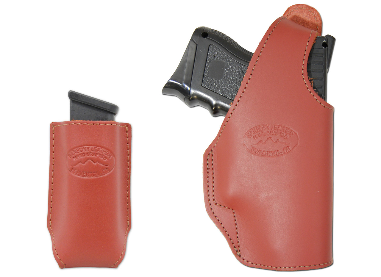 New Burgundy Leather OWB Holster + Single Magazine Pouch for Compact  Sub-Compact 9mm 40 45 Pistols (#C16BU)