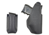 Black Leather OWB Holster + Single Magazine Pouch for Compact Sub-Compact 9mm 40 45 Pistols
