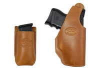 Tan Leather OWB Holster + Single Magazine Pouch for Compact Sub-Compact 9mm 40 45 Pistols