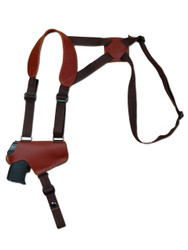 Burgundy Leather Horizontal Thumb-break Shoulder Holster for 380 Ultra Compact 9mm 40 45 Pistols