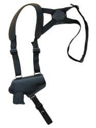 Black Leather Horizontal Thumb-break Shoulder Holster for 380 Ultra Compact 9mm 40 45 Pistols