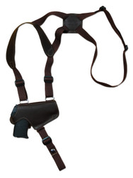 Brown Leather Horizontal Thumb-break Shoulder Holster for 380 Ultra Compact 9mm 40 45 Pistols