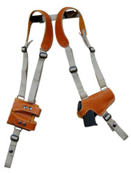 Saddle Tan Leather Horizontal Thumb-break Shoulder Holster w/ Magazine Pouch for 380 Ultra Compact 9mm 40 45 Pistols