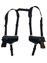 Black Leather 2 Gun Shoulder Holster for 9mm 40 45 Pistols