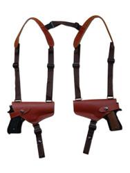 Burgundy Leather 2 Gun Shoulder Holster for 9mm 40 45 Pistols