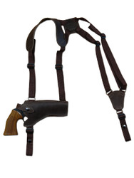 "New Brown Leather Horizontal Cross Harness Gun Shoulder Holster for 4"" Revolvers (63/4BRHOR)"