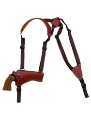 "Burgundy Leather Horizontal Shoulder Holster for 4"" Revolvers"