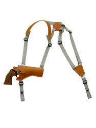 "New Saddle Tan Leather Horizontal Cross Harness Gun Shoulder Holster for 4"" Revolvers (63/4STHOR)"
