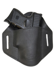 Black Leather Pancake Belt Slide Holster for Compact Sub-Compact 9mm 40 45 Pistols