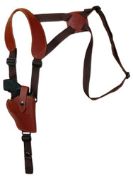 "Burgundy Leather Vertical Shoulder Holster for 2"" Snub Nose Revolvers"