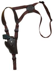 """Brown Leather Vertical Shoulder Holster for 2-3"""" Snub Nose Revolvers"""