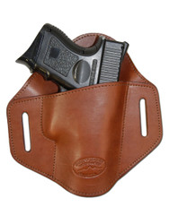 Brown Leather Pancake Belt Slide Holster for Compact Sub-Compact 9mm 40 45 Pistols