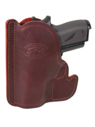 Burgundy Leather Ambidextrous Pocket Holster for Mini/Pocket .22 .25 .380 .32 Pistols