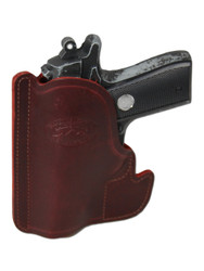 Burgundy Leather Ambidextrous Pocket Holster for Compact 9mm 40 45 Pistols