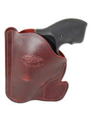 "New Burgundy Leather Concealment Pocket Gun Holster for 2"", Snub-Nose .38 .357 Revolvers (#PO2BU)"