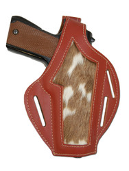 Burgundy Leather Hair On Hide Inlay Pancake Holster for Full Size 9mm 40 45 Pistols