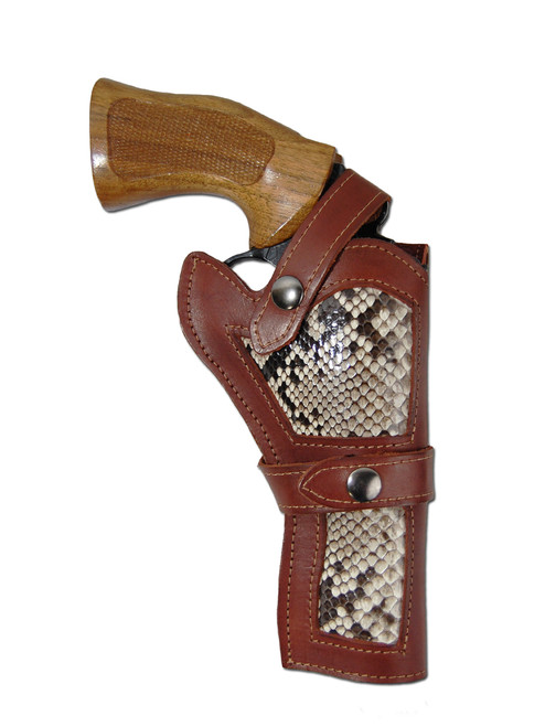 "Burgundy Leather Python Snake Skin Inlay Western Holster for 4"" Revolvers"