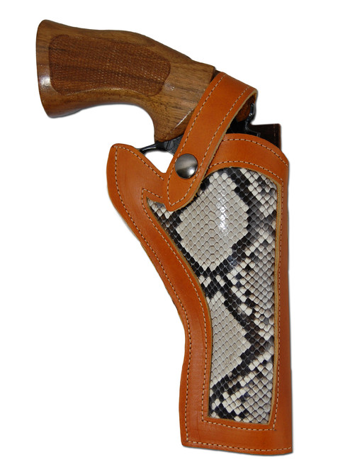 """Saddle Tan Leather Python Snake Skin Inlay Western Style Holster for 4"""" Revolvers"""