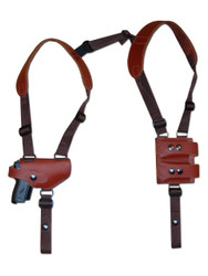 New Burgundy Leather Horizontal Shoulder Gun Holster w/ Double Magazine Pouch for Mini/Pocket 22 25 380 Pistols (M49BU)