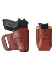 New Burgundy Leather Yaqui Gun Holster + Single Magazine Pouch for Small 380 Ultra Compact 9mm 40 45 Pistols (#C19BU)