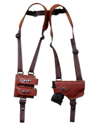 Burgundy Leather Horizontal Shoulder Holster with Magazine Pouch for Compact 9mm .40 .45 Pistols