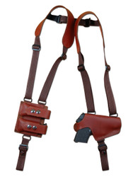 New Burgundy Leather Horizontal Thumb-break Shoulder Gun Holster w/ Double Magazine Pouch for 380 Ultra Compact 9mm 40 45 Pistols (M13BU)
