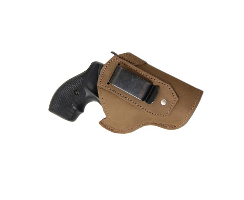 """Olive Drab Leather Inside the Waistband Holster for 2"""", Snub Nose .38 .357 Revolvers"""
