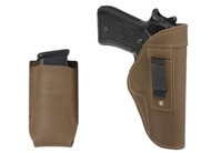 Olive Drab Leather Inside the Waistband Holster + Magazine Pouch for Full Size 9mm 40 45 Pistols