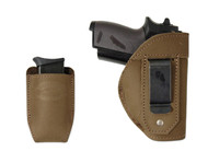 New Olive Drab Leather Inside the Waistband (IWB) Gun Holster + Single Magazine Pouch for Mini/Pocket 22 25 32 380 Pistols (#C68/4sOD)