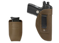 Olive Drab Leather Inside the Waistband Holster + Magazine Pouch for 380, Ultra-Compact 9mm 40 45 Pistols