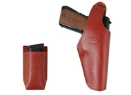 Burgundy Leather OWB Holster + Single Magazine Pouch for Full Size 9mm 40 45 Pistols