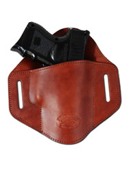Burgundy Leather Pancake Belt Slide Holster for Compact Sub-Compact 9mm 40 45 Pistols