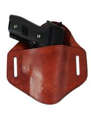 Burgundy Leather Pancake Belt Slide Holster for Full Size 9mm 40 45 Pistols