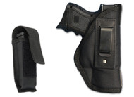 New Inside the Waistband Gun Holster + Single Magazine Pouch for Compact Sub-Compact 9mm .40 .45 Pistols with LASER (#C67-22L)
