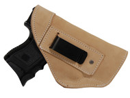 Natural Tan Leather Inside the Waistband Holster for Compact Sub-Compact 9mm 40 45 Pistols with LASER