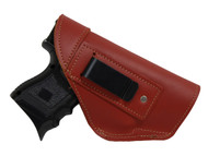Burgundy Leather Inside the Waistband Holster for Compact Sub-Compact 9mm 40 45 Pistols with LASER