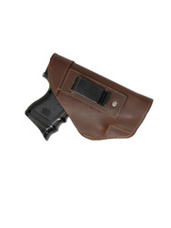 Brown Leather Inside the Waistband Holster for Compact Sub-Compact 9mm 40 45 Pistols with LASER