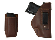 Brown Leather Inside the Waistband Holster + Magazine Pouch for Compact Sub-Compact 9mm 40 45 Pistols with LASER