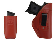 Burgundy Leather Inside the Waistband Holster + Magazine Pouch for Compact Sub-Compact 9mm 40 45 Pistols with LASER