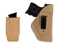 Natural Tan Leather Inside the Waistband Holster + Magazine Pouch for Compact Sub-Compact 9mm 40 45 Pistols with LASER