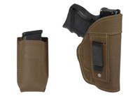 Olive Drab Leather Inside the Waistband Holster + Magazine Pouch for Compact Sub-Compact 9mm 40 45 Pistols with LASER