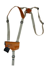 Saddle Tan Leather Horizontal Shoulder Holster for Compact 9mm 40 45 Pistols with LASER