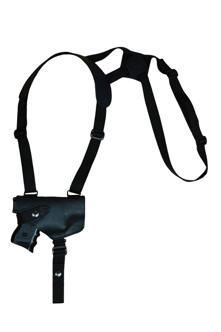 Black Leather Horizontal Shoulder Holster for Compact 9mm 40 45 Pistols with LASER