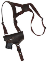 Brown Leather Horizontal Shoulder Holster for Compact 9mm 40 45 Pistols with LASER