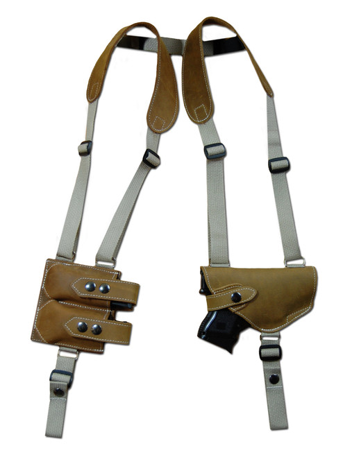 Olive Drab Leather Shoulder Holster with Magazine Pouch for Compact 9mm .40 .45 Pistols with LASER