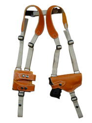 Saddle Tan Leather Shoulder Holster with Magazine Pouch for Compact 9mm .40 .45 Pistols with LASER