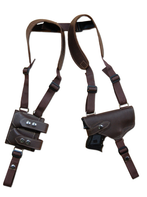 Brown Leather Horizontal Shoulder Holster with Magazine Pouch for Compact 9mm .40 .45 Pistols with LASER