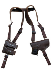 leather shoulder holster with double magazine pouch for laser